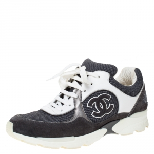 Chanel Monochrome Canvas And Suede CC Logo Lace Up Sneakers Size 38.5