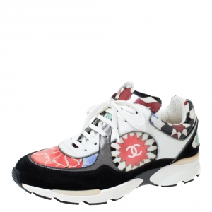 Chanel Multicolor Printed Leather and Suede CC Sneakers Size 40
