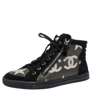 Chanel Black/Grey Suede And Leather CC Double Zip Accent High Top Sneakers Size 38
