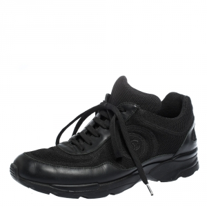Chanel Black Leather And Mesh CC Lace Up Sneakers Size 38