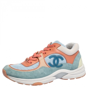 Chanel Multicolor Nylon And Leather CC Logo Lace Up Sneakers Size 37.5