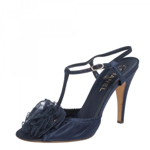 Chanel Blue Satin Flower Embellished Scrunch Peep Toe Ankle Strap Sandals Size 40 - used