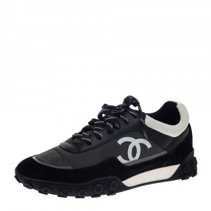 Chanel Multicolor Nylon, Suede and Leather CC Low Top Sneakers Size 40