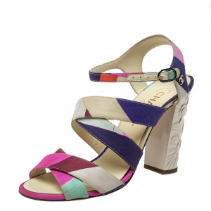 Chanel Multicolor Fabric Strappy Sculpture Heel Ankle Strap Sandals Size 38.5 - used