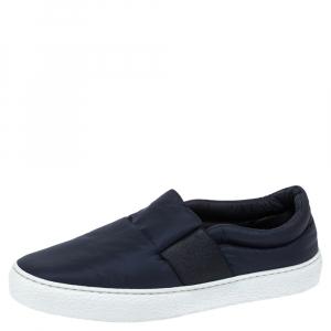 Chanel Navy Blue Nylon Slip-On Sneakers Size 38