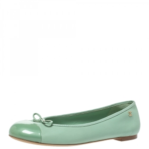 Chanel Green Leather CC Bow Ballet Flats Size 40 - used