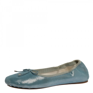 Chanel Sky Blue Shimmer Suede CC Bow Scrunch Ballet Flats Size 37 - used