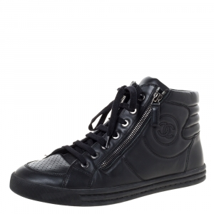 Chanel Black Leather CC High Top Sneakers Size 40