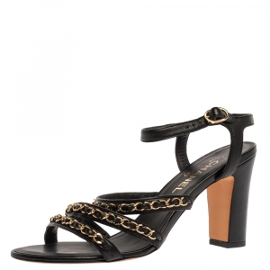 Chanel Black Leather Chain Link Ankle Strap Sandals Size 39.5