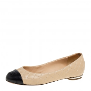 Chanel Beige/Black Leather CC Cap Toe Ballet Flats Size 35