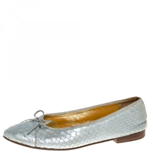 Chanel Metallic Silver Python CC Bow Cap Toe Ballet Flats Size 40