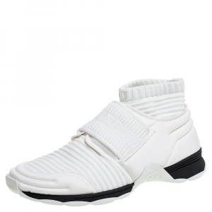 Chanel White Stretch Fabric Knit Sock CC Logo Flat Sock Sneakers Size 37