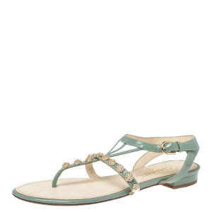 Chanel Pale Blue Patent Leather Camellia Stud Thong Flats Size 37