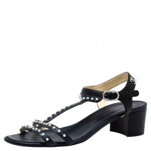 Chanel Blue/Black Leather Pearl Embellished Block Heel Sandals Size 40