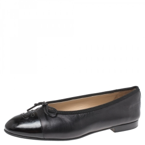 Chanel Black Leather CC Cap Toe Bow Flats Size 39