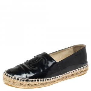Chanel Navy Blue Patent Leather CC Cap Toe Espadrille Flats Size 36