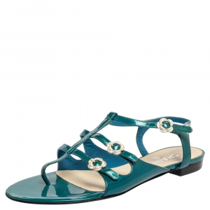Chanel Green Patent Lether T-Strap Sandals Size 39.5