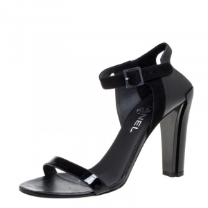 Chanel Black Suede And Leather Ankle Strap Sandals Size 39.5