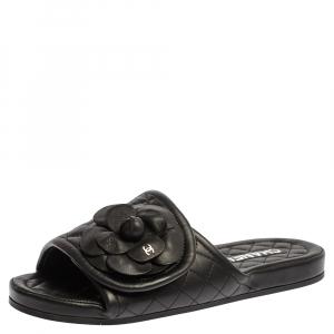 Chanel Black Leather Camellia Embellished Velcro Flat Slides Size 39