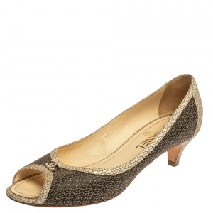Chanel Two Tone Textured Leather Open Toe CC Pumps Size 40.5