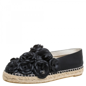 Chanel Black Leather CC Camellia Espadrilles Size 37