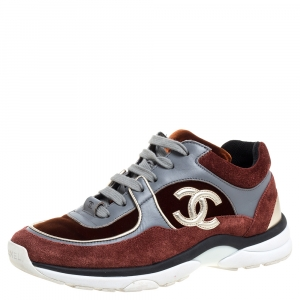 Chanel Multiclor Suede Leather And Velvet CC Low-Top Sneakers Size 36