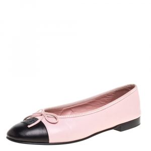 Chanel Pink/Black Leather Bow CC Cap Toe Ballet Flats Size 39.5