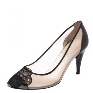 Chanel Black Camellia Cap Toe Mesh and Leather Pumps Size 39
