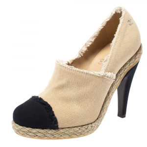 Chanel Beige/Black Canvas Cap Toe Espadrille Booties Size 37