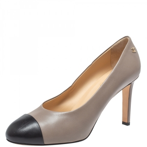 Chanel Grey/Black Leather Cap Toe Pumps Size 39