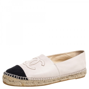 Chanel Blush Pink Leather And Fabric CC Cap Toe Espadrilles Flats Size 39