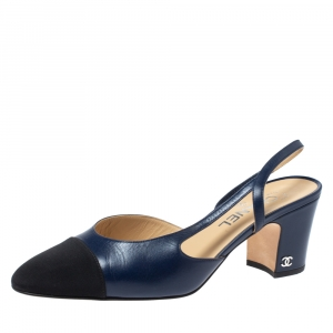 Chanel Blue Leather And Black Canvas CC Cap Toe Slingback Sandals Size 39