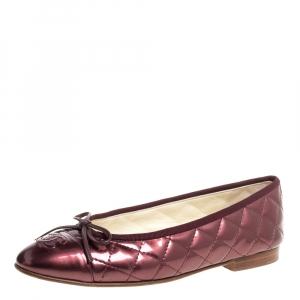 Chanel Metallic Brown Quilted Patent Leather CC Bow Cap Toe Ballet Flats Size 37.5