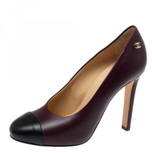 Chanel Burgundy/Black Leather Cap Toe Pumps Size 36