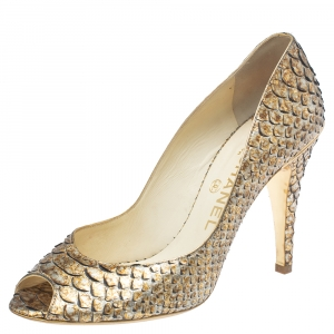 Chanel Metallic Gold/Beige Python Leather Peep Toe Pumps Size 39