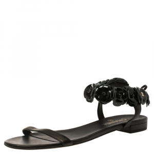 Chanel Black Leather Camellia Ankle Strap Sandals Size 41C