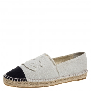 Chanel White/Black Canvas CC Espadrille Flat Loafers Size 41