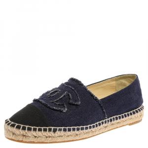 Chanel Blue Canvas CC Espadrilles Flat Loafers Size 41
