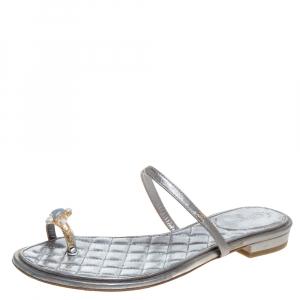 Chanel Silver Leather Enamel Embellished Toe Ring Flat Sandals Size 36
