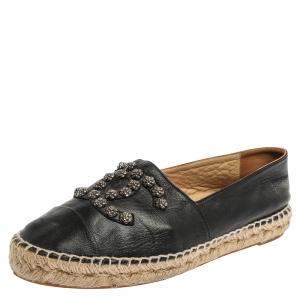 Chanel Black Leather CC Camellia Stud Espadrilles Size 38