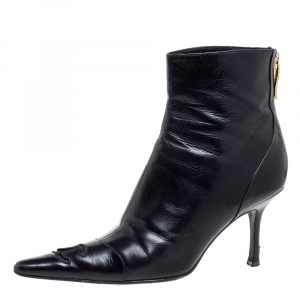 Chanel Black Leather CC Pointed Toe Ankle Boots - used
