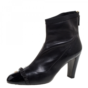 Chanel Black Leather And Patent Leather CC Cap Toe Ankle Boots Size 40