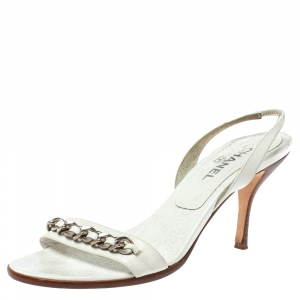 Chanel White Leather Chain Embellished Slingback Open Toe Sandals Size 41