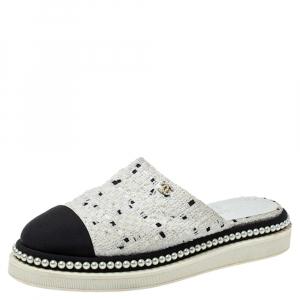 Chanel White/Black Tweed Pearl Embellished Cap Toe Flat Mules Size 36