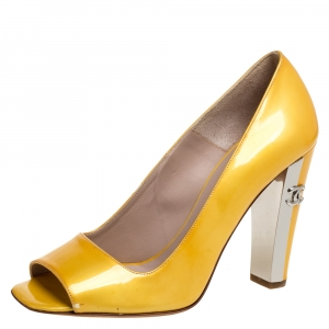 Chanel Yellow Patent Leather Open Toe CC Pumps Size 38