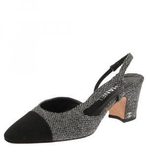Chanel Two Tone Metallic Tweed And Fabric CC Block Heel Slingback Sandals Size 38