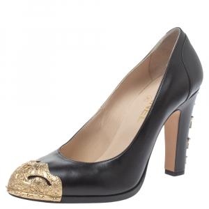 Chanel Black Leather Paris Dallas Star Studded Pumps Size 39