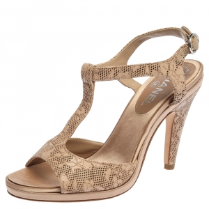 Chanel Beige Laser Cut Floral Leather CC T-Strap Slingback Sandals Size 39.5
