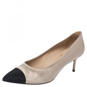 Chanel Beige/Black Satin Cap Toe Pumps Size 38.5