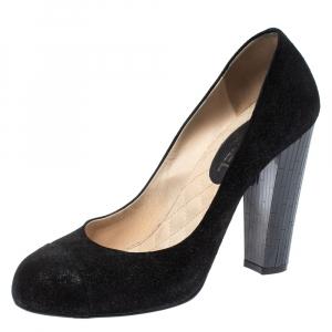 Chanel Black Suede Cap Toe CC Crystal Heels Pumps Size 41